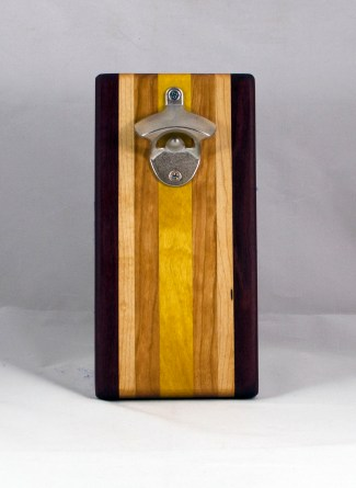Magic Bottle Opener 16 - 139. Black Walnut, Hard Maple, Canarywood & Yellowheart. Double Magic.