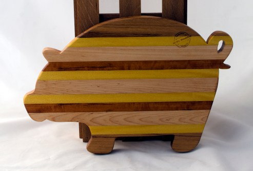 "Pig 16 - 04. Hickory, Yellowheart, Hard Maple & Goncalo Alves. 12"" x 19"" x 1-1/8""."