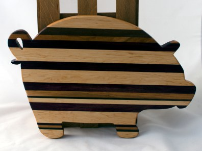 "Pig 16 - 05. Hard Maple, Canarywood, Black Walnut & Purpleheart. 12"" x 19"" x 1-1/8""."