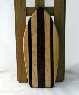 "Small Surfboard 16 - 12. Hard Maple, Birds Eye Maple, Jatoba & Purpleheart. 6"" x 16"" x 3/4""."