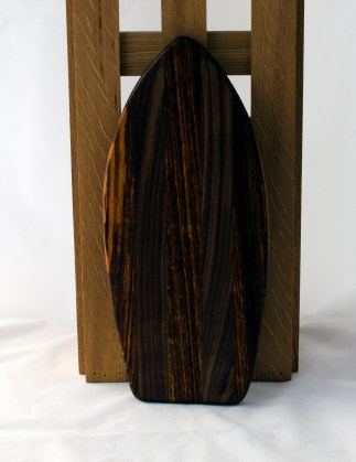 "Small Surfboard 16 - 17. Goncalo Alves & Black Walnut. 6"" x 16"" x 3/4""."