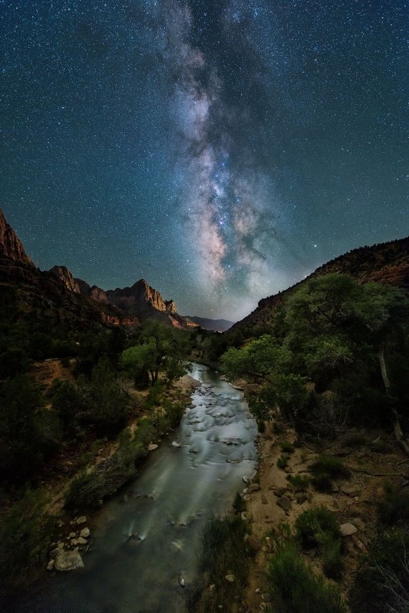 The Milky Way over the Watchman at Zion National Park. Photo by Evan Kokoska. Tweeted by the US Department of the Interior, 10/11/16.