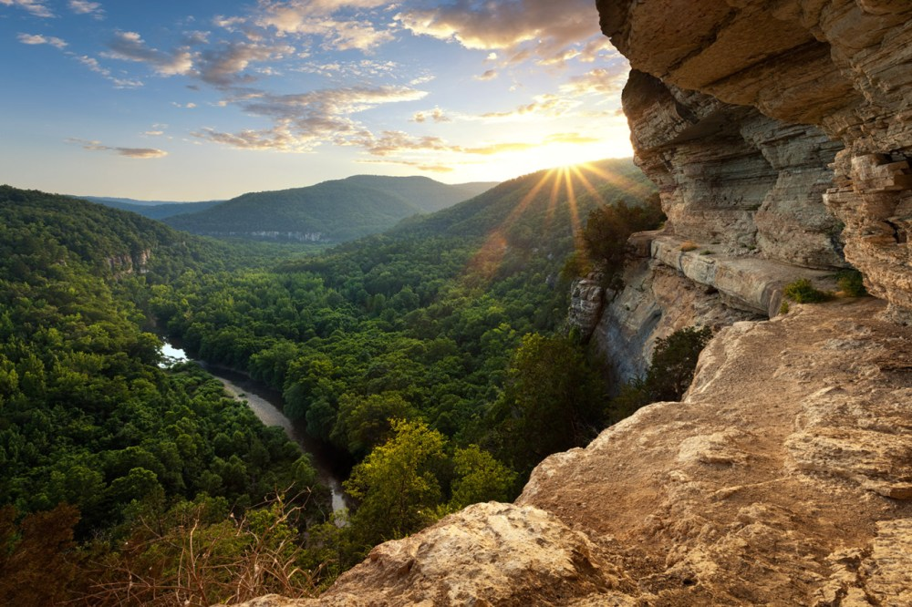 Easily one of the most beautiful sights in Arkansas, the view from Big Bluff looking down on Buffalo National River will amaze you. Established in 1972, Buffalo National River flows freely for 135 miles and is one of the few remaining undammed rivers in the lower 48 states. Once you arrive, prepare to journey from running rapids to quiet pools while surrounded by massive bluffs as you cruise through the Ozark Mountains down to the White River. Photo by Aaron Bates. Posted on Tumblr by the US Department of the Interior, 10/5/16.