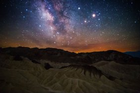 The Milky Way over Death Valley National Park ... with a glow on the horizon. Photo by Sriram Murali. Tweeted by the US Department of the Interior, 8/17/16.