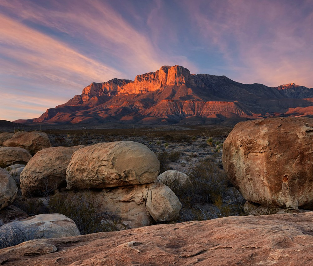 """Rising like a castle wall above the surrounding desert, the Guadalupe Mountains are an impressive sight on the plains of West Texas. Guadalupe Mountains National Park provides over 80 miles of extraordinary hiking trails through a beautiful and diverse wilderness. Here you can see amazing fossils, take awesome pictures and climb to Guadalupe Peak: the """"Top of Texas."""" Photo by Aaron Bates. Posted on Tumblr by the US Department of the Interior, 10/20/16."""