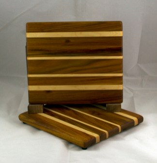 "Cheese Board 16 - 050. Canarywood & Hard Maple. 8"" x 8"" x 3/4""."