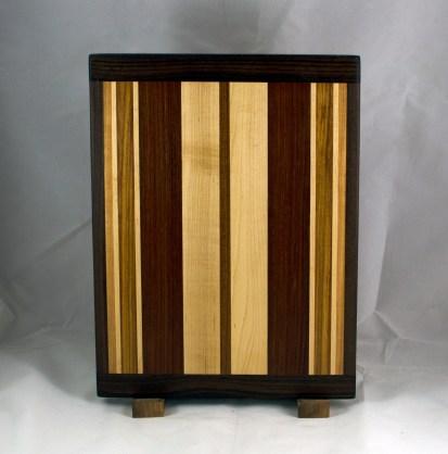 "Cutting Board 16 - Edge 020. Black Walnut, Cherry, Hard Maple, Canarywood & Jatoba. Bread Board Ends, Edge Grain. 12"" x 16"" x 3/4""."