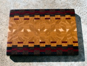 "Cutting Board 16 - End 044. Black Walnut, Bloodwood & Hickory. End Grain. 16"" x 21"" x 1-1/2"". Commissioned Piece."