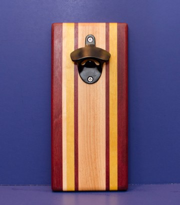 Magic Bottle Opener 16 - 155. Purpleheart, Hard Maple & Yellowheart. Single Magic.
