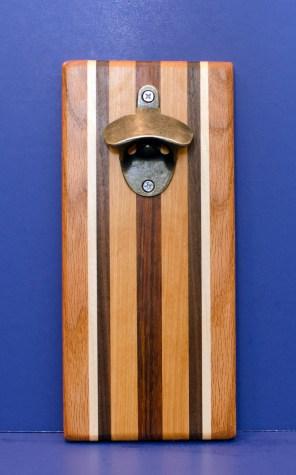 Magic Bottle Opener 16 - 170. Red Oak, Hard Maple, Black Walnut, Cherry & Jatoba. Double Magic.