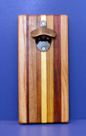 Magic Bottle Opener 16 - 172. Red Oak, Padauk, Teak, Goncalo Alves, Hard Maple & Canarywood. Chaos Board. Double Magic.