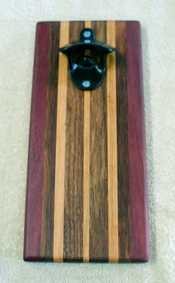 Magic Bottle Opener 16 - 195. Purpleheart, Black Walnut, Cherry & Caribbean Rosewood. Double Magic.