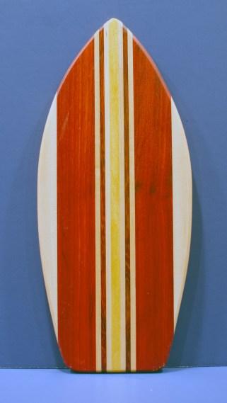 """Medium Surfboard 16 - 17. Hard Maple, Padauk & Yellowheart. 8-1/2"""" x 20"""" x 3/4""""."""