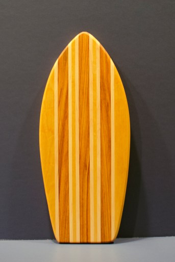 "Small Surfboard 16 - 18. Yellowheart, Hard Maple & Canarywood. 7"" x 16"" x 3/4""."