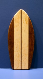 "Small Surfboard 16 - 19. Jatoba & Birdseye Maple. 7"" x 16"" x 3/4""."