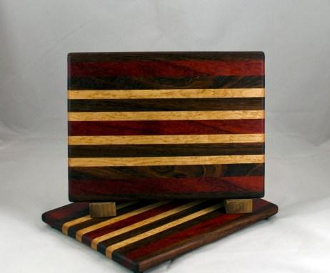 "Cheese Board 16 - 065. Black Walnut, Padauk & Birdseye Maple. 8"" x 11"" x 3/4""."