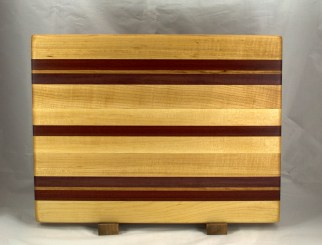 "Cutting Board 16 - Edge 030. Hard Maple, Bloodwood, Purpleheart & Bubinga. Edge Grain. 14"" x 18"" x 1-1/4""."