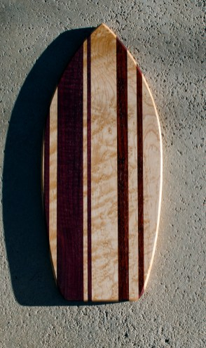 "Medium Surfboard 16 - 19. Purpleheart, Birdseye Maple & Padauk. Chaos Board. 9"" x 20"" x 3/4"". Commissioned Piece."