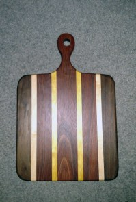 "Small Sous Chef 16 - 026. Black Walnut, Hard Maple, Jatoba & Yellowheart. 9"" x 16"" x 3/4"". Already sold."