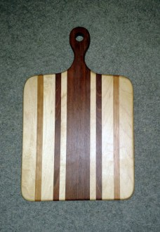 "Small Sous Chef 16 - 027. Hard Maple, Cherry & Jatoba. 9"" x 16"" x 3/4"". Already sold."