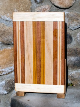 "Cutting Board 17 - 107. Hard Maple, Jatoba, Cherry & Canarywood. Edge Grain with Bread Board Ends. 10"" x 16"" x 7/8""."
