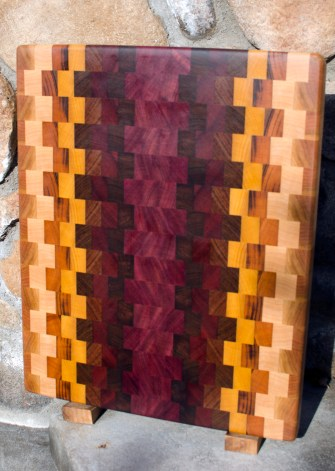 "Cutting Board 17 - 403. Cherry, Hard Maple, Goncalo Alves, Yellowheart, Bubinga, Bloodwood, Purpleheart & Jatoba. End grain. 14"" x 20"" x 1-1/4""."