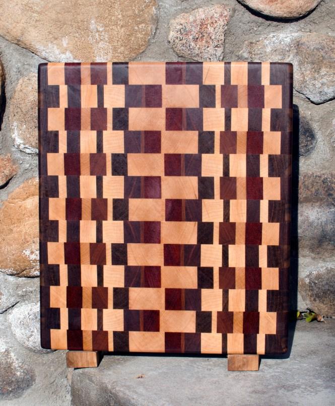 "Cutting Board 17 - 405. Black Walnut, Hard Maple, Padauk & Jatoba. End Grain. 12"" x 15"" x 1-1/4""."