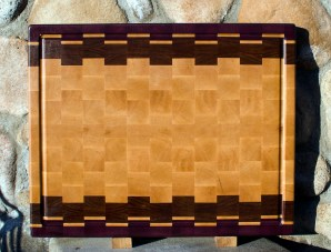"Cutting Board 17 - 406. Purpleheart, Jatoba & Hard Maple. Edge Grain, Juice Groove. 16"" x 20"" x 1-1/2""."