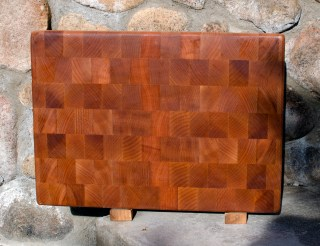 """Cutting Board 17 - 407. Hard Maple. Upcycled board: the wood used to be an edge grain, unfinished kitchen counter. End Grain. 12"""" x 18"""" x 1-1/2""""."""