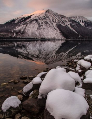 A wintry sunset over Lake McDonald in Montana's Glacier National Park. Tweeted by the US Department of the Interior, 1/24/17.