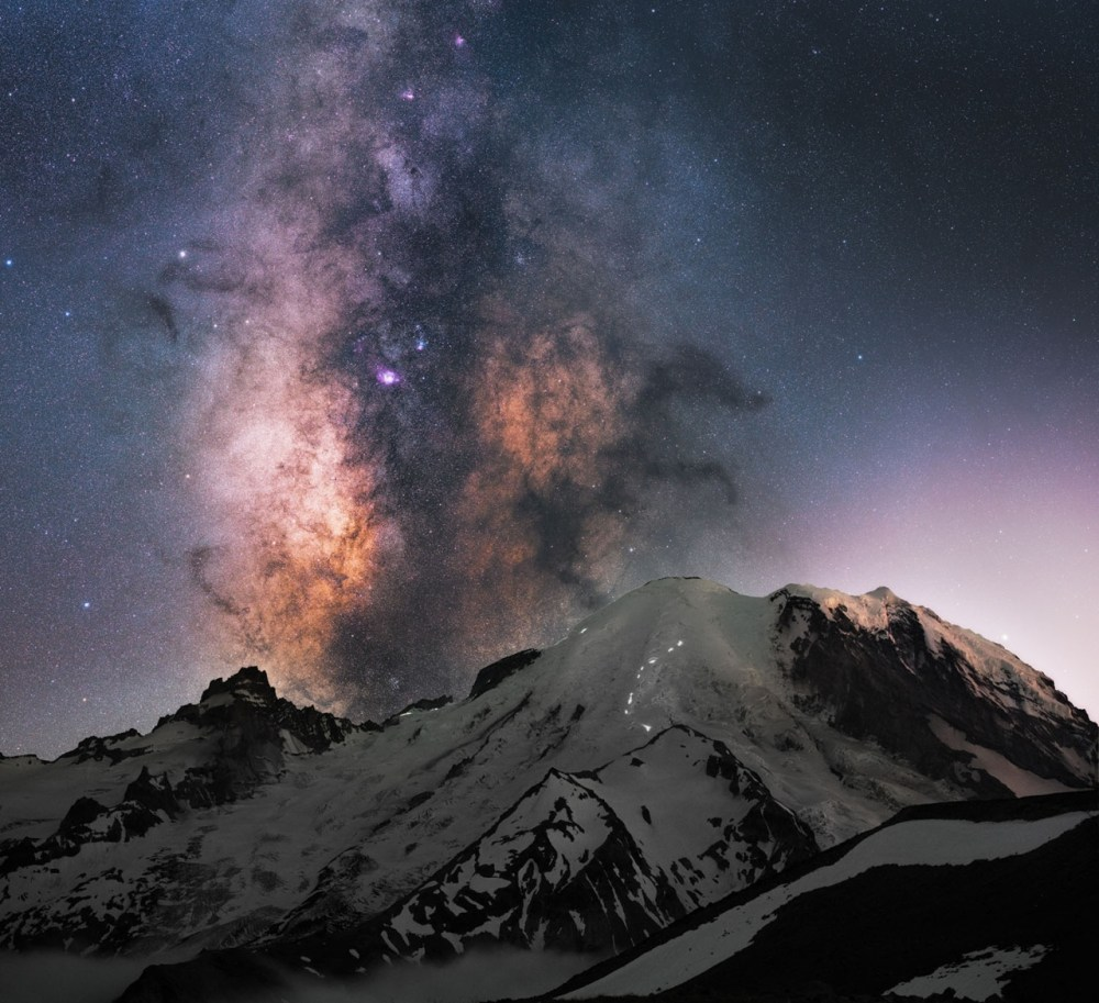 Nothing compares to staying up all night, watching the stars twinkle overhead. Derek Culver captured this amazing pic at Mount Rainier National Park in Washington. The lights on the mountain: A few climbers getting an early start to the summit under the Milky Way.  Photo by Derek Culver. Posted on Tumblr by the US Department of the Interior, 12/26/16.