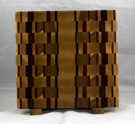"""Cutting Board 17 - 409. This was built to be a chaos board ... but didn't end up that way. End Grain. 12-1/2"""" x 13"""" x 1-1/4""""."""