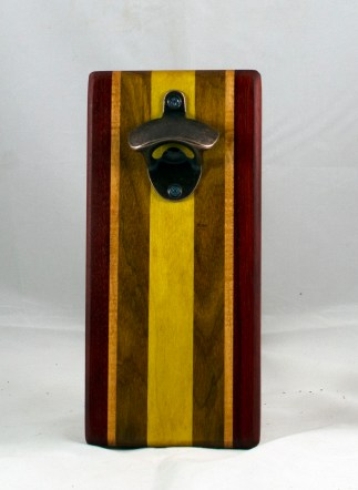 Magic Bottle Opener 17 - 607. Padauk, Honey Locust, Canarywood & Yellowheart. Single Magic.