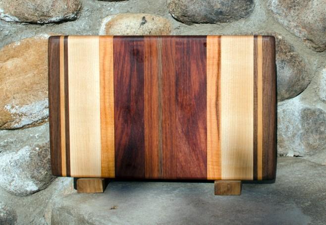 "Small Board 17 - 201. Black Walnut, Cherry, Hard Maple, Honey Locust, Bubinga & Jatoba. 8"" x 12"" x 3/4""."