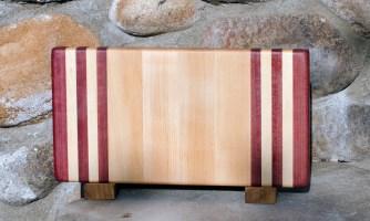 """Small Board 17 - 203. Purpleheart & Hard Maple. 7"""" x 12"""" x 1-1/4""""."""