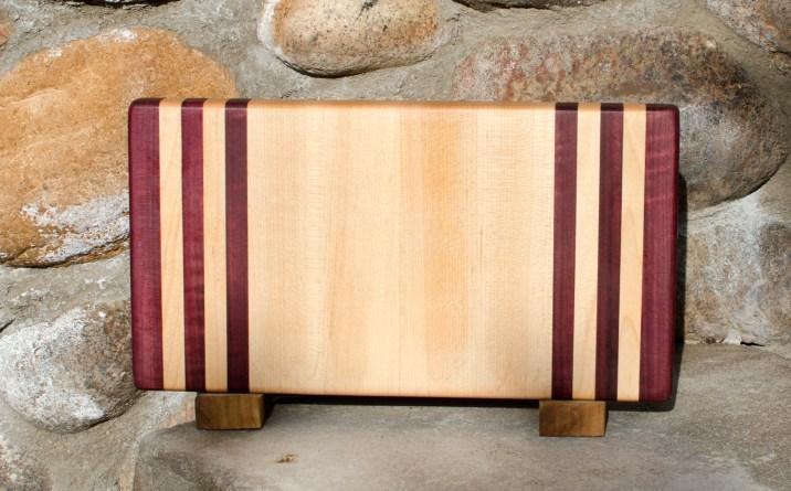 """Small Board 17 - 207. Purpleheart & Hard Maple. 8"""" x 12"""" x 1-1/4""""."""
