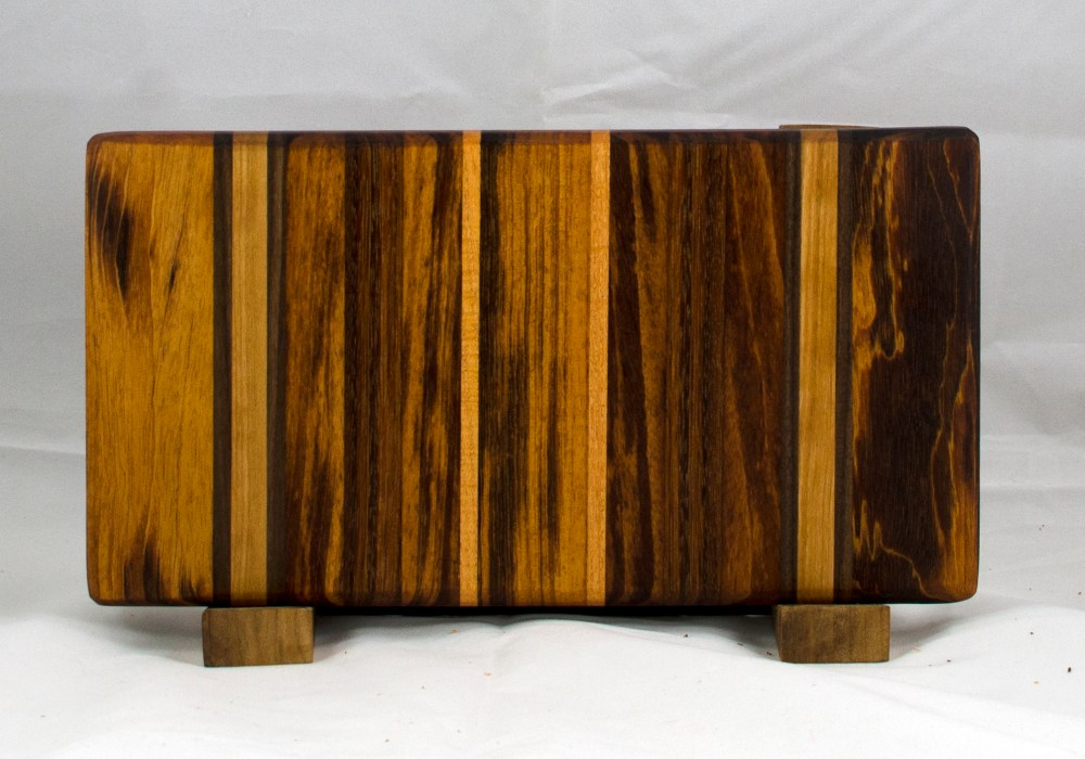 "Small Board 17 - 208. Goncalo Alves, Black Walnut, Jatoba, Honey Locust & Cherry. 8"" x 11"" x 1"". Commissioned piece."