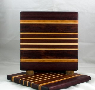 "Small Board 17 - 212. Purpleheart, Cherry, Hard Maple, Bubinga & Bloodwood. 11-1/2"" x 11-3/4"" x 3/4""."