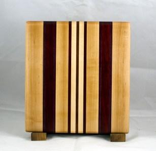 "Small Board 17 - 215. Hard Maple, Purpleheart, Padauk & Jatoba. 10-1/2"" x 11-1/4"" x 3/4""."