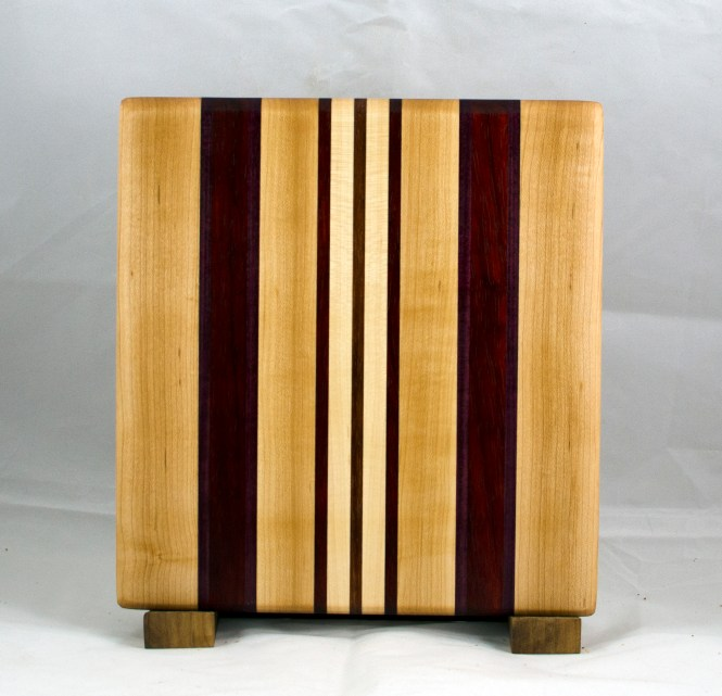 "Small Board 17 - 215. Hard Maple, Purpleheart, Padauk & Jatoba. 10-1/2"" x 11-1/4"" x 3/4""."