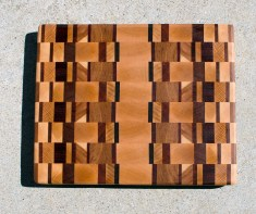 "Cutting Board 17 - 420. Cherry, Hard Maple, White Oak, Padauk, Jatoba & Hickory. End Grain. 11"" x 13-1/2"" x 1-1/8""."
