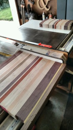 """The board gets sliced into 1-5/8"""" pieces. You never know what's inside the wood until you slice the blank."""