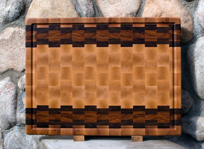 "Cutting Board 17 - 425. Cherry, Jatoba, Canarywood & Hard Maple. End Grain, Juice Groove. 16"" x 21"" x 1-1/2""."