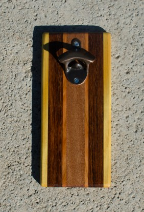 Magic Bottle Opener 17 -616. Yellowheart, Jatoba, Cherry & Mahogany. Double Magic.