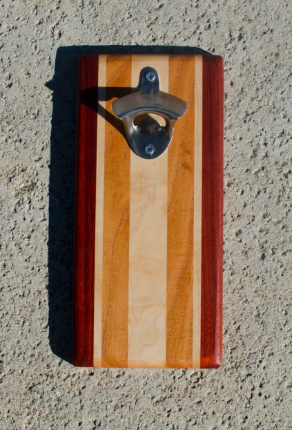 Magic Bottle Opener 17 - 618. Padauk, Hard Maple & Honey Locust. Double Magic.