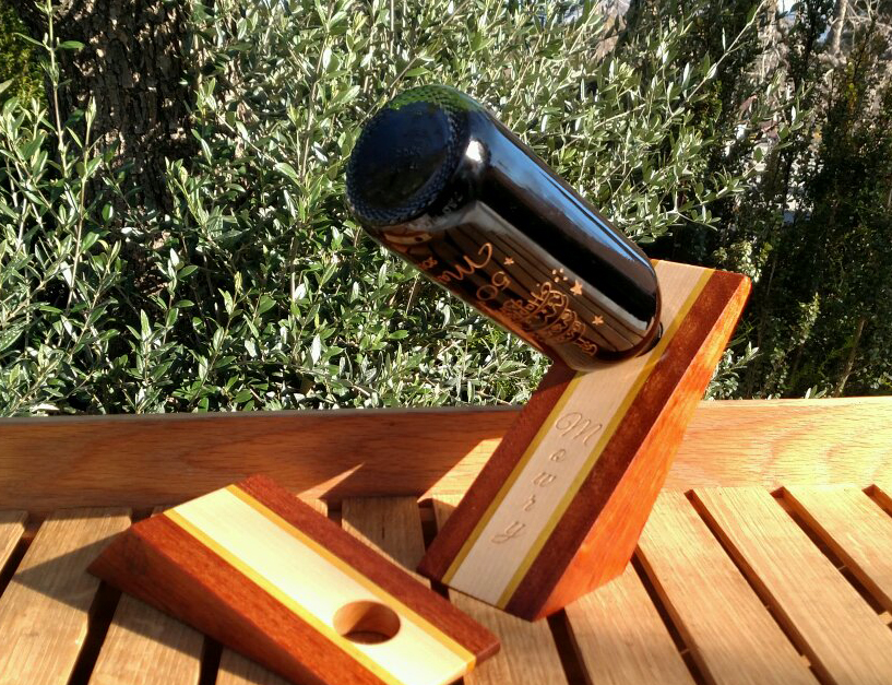 Wine Bottle Holder 17 - 01. Jatoba, Yellowheart & Maple. The Hard Maple is easy to personalize, as you can see.