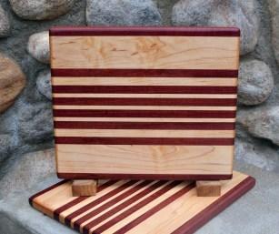 "Cheese Board 17 - 323. Purpleheart & Hard Maple. 9"" x 11"" x 3/4""."
