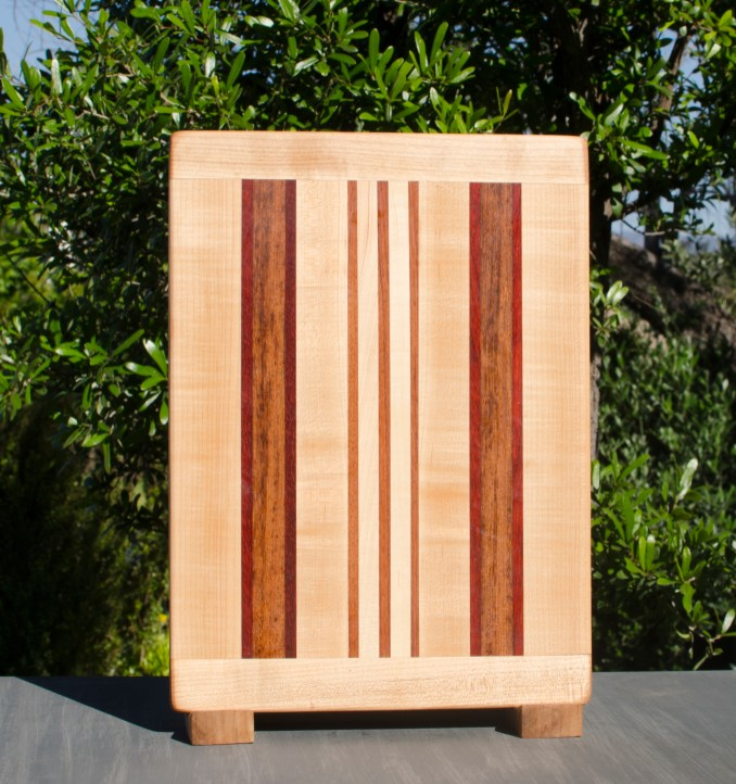 "Cutting Board 17 - 114. Hard Maple, Padauk & Jatoba. 10"" x 14"" x 7/8""."
