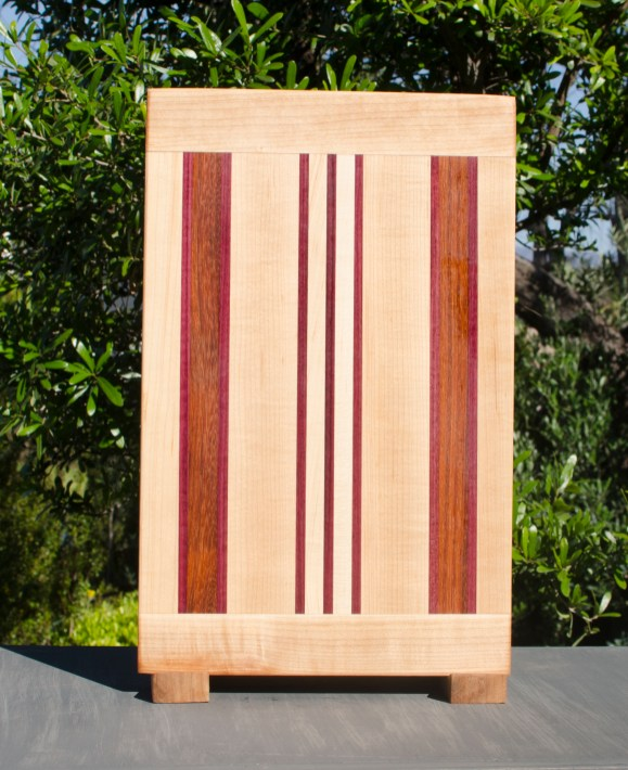 "Cutting Board 17 - 115. Hard Maple, Padauk, Jatoba & Purpleheart. 10"" x 16"" x 7/8"". Commissioned Piece."