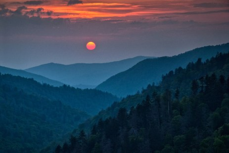 If you've never seen the sunset at Great Smoky Mountains National Park (located in both North Carolina and Tennessee), you've been missing out. If you have seen one, you're probably dreaming of the next one. The gentle curves of the forested mountains, the rising fog in the hollows and the glowing colors painting the cloudscape create a scene so beautiful, you'll never forget it. Photo by Rick Sereque. Posted on Tumblr by the US Department of the Interior, 3/25/17.